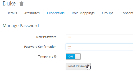 Image of User password creation